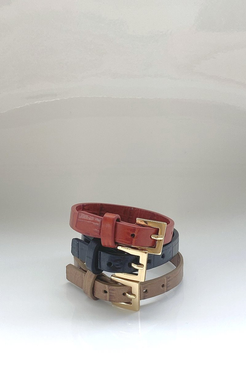 Croc Pattern Leather Bracelet